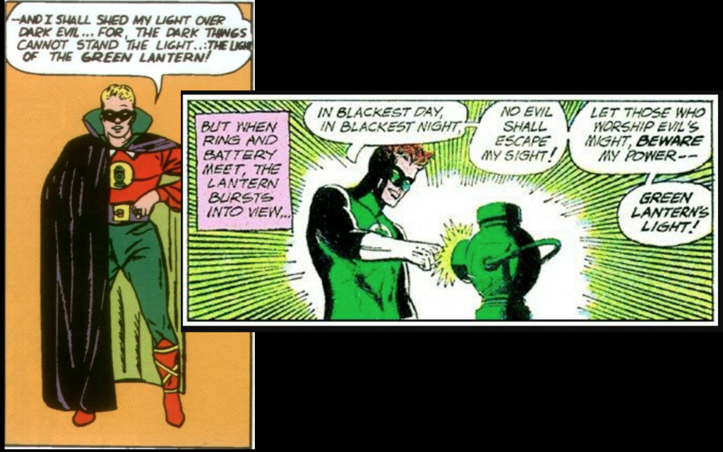 The Golden Age and Silver Age Green Lanterns speaking their oaths.