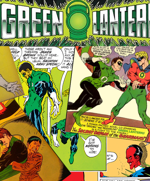 A collage of comic book covers and panels featuring the Golden Age and Silver Age Green Lanterns