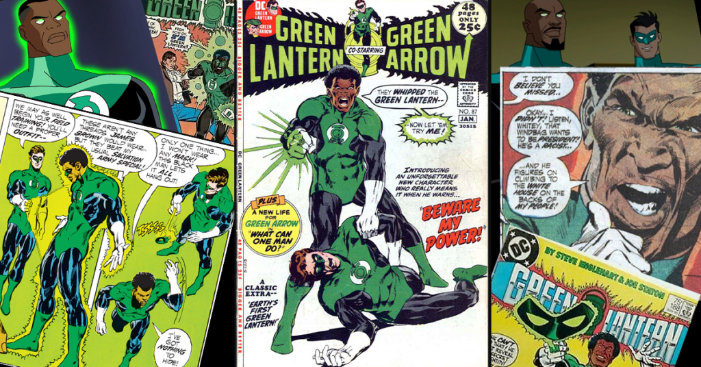 A collage of comic book covers and panels featuring Jon Stewart as Green Lantern