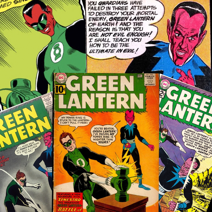 A collage of comic book covers and panels featuring Sinestro