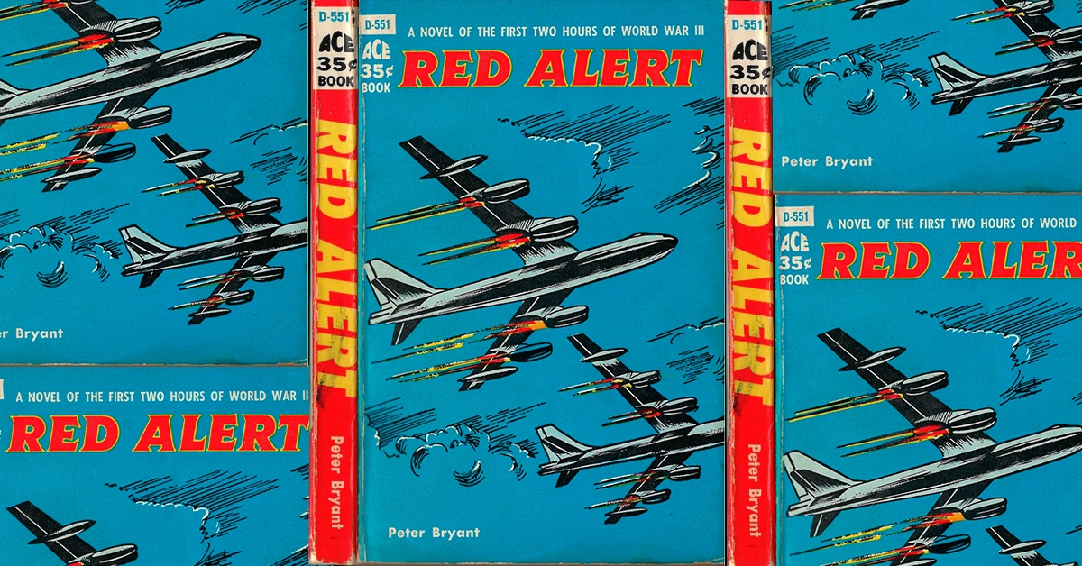 Featured Image for Episode 009: collage of the front cover and spine of the 1958 Ace paperback edition of Red Alert by Peter Bryant