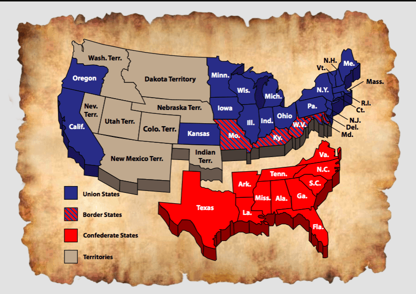 Map of Union and Confederate States and U.S. Territories during the Civil War. Union states are in blue; Confederate states are in red; territories are in brown.
